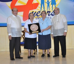 From left to right, Hon. Juan Santos, Sr. Patricia Perez RGS, Sr. Aimee Olaguer RGS and Hon. Emilio de Quiroz Jr. (Photo Courtesy of SSS)