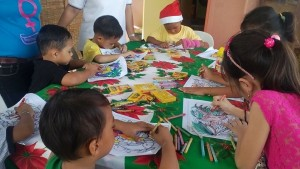 Children participants of the coloring contest