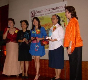 Sr. Amelia David RGS, (second from right) receives the Angel Award on behalf of the Philippine Province
