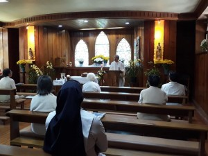 Good Shepherd Sisters, celebrate the Diamond Jubilee of Sr. Michelle Gamboa RGS at the Good Shepherd Chapel in Baguio City. Presider is Fr. Buboy Jimenez SVD.